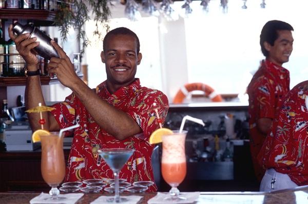 Crew In Tropical Bar